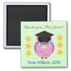 Thank You Teacher (Your Name) Purple Owl Magnet