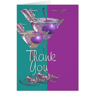 """Thank you"" teal purple martini cocktail Card"