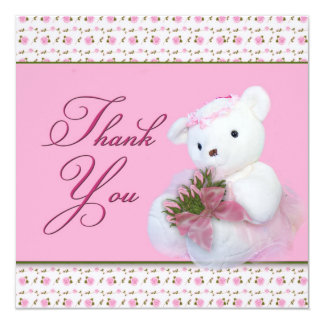 Thank You - Teddy Bear andRoses (Double-side Card) 13 Cm X 13 Cm Square Invitation Card