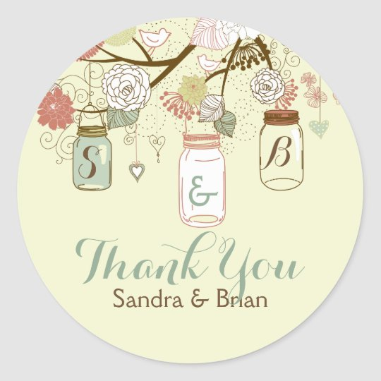 Thank You Text With Retro Flowers & Mason Jars Classic Round Sticker