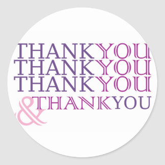 Thank you thank you thank you card in purple text classic round sticker