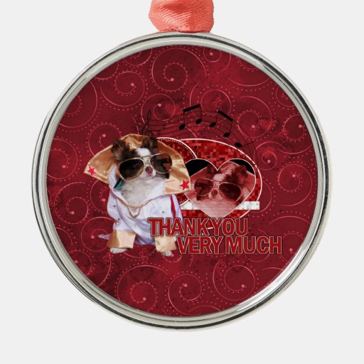 Thank You - Thank You Very Much - Chihuahua -Gizmo Silver-Colored Round Decoration