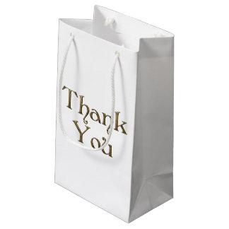 Thank You Thanks Golden Typography Text Elegant Small Gift Bag