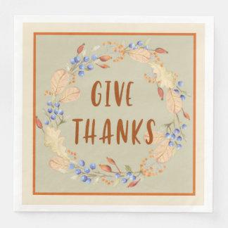 Thank you, Thanksgiving Wreath Napkins Paper Serviettes