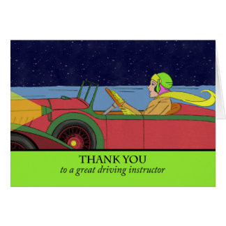 Thank You to a Driving Instructor, Vintage Car Greeting Card