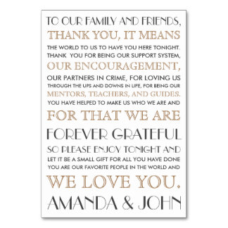 Thank you to wedding guests table cards