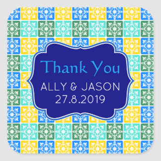 Thank You Trendy Resort Fashion Mediterranean Tile Square Sticker