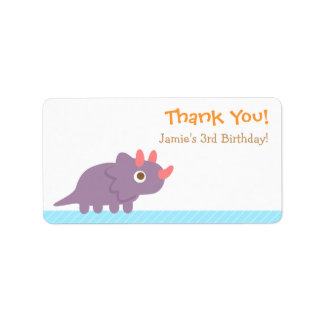 Thank You, Triceratops dinosaur theme party Address Label