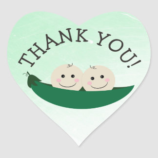 Thank You Twins Green Peapod Stickers
