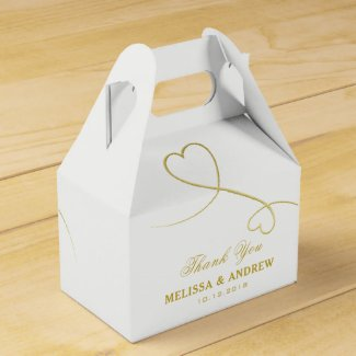 Thank You | Two Gold Hearts | Personalised Wedding Favour Box