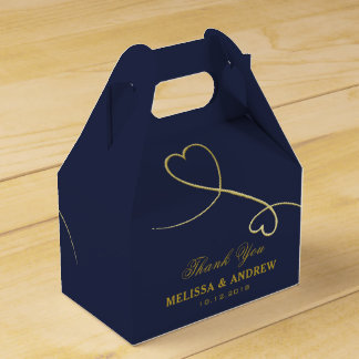 Thank You | Two Gold Hearts | Personalized Wedding Favour Box