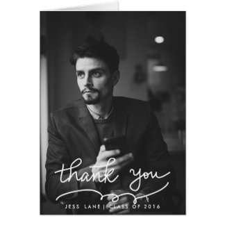Thank You Typography Graduate Photo Greeting Card