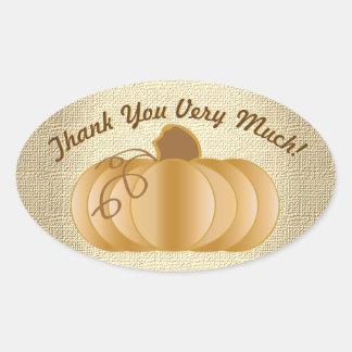 Thank You Very Much Pumpkin Oval Sticker