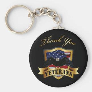 Thank You Veterans Basic Round Button Key Ring