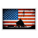 Thank You Veterans - Flag and Soldier Silhouette