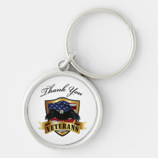 Thank You Veterans Silver-Colored Round Key Ring