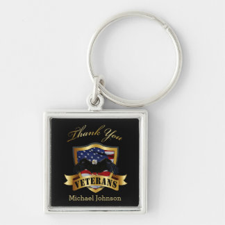 Thank You Veterans Silver-Colored Square Key Ring