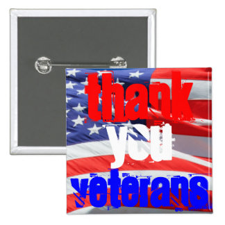 Thank You Veterans Love Respect Gratitude 15 Cm Square Badge
