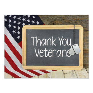 Thank You Veterans sign on chalkboard Photo Art