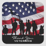 Thank You Veterans Square Stickers