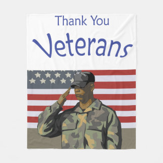 Thank You Veterans with American Flag & Soldier Fleece Blanket