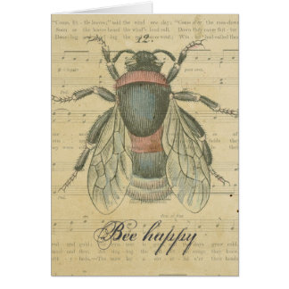 Thank You Vintage Bee Sheet Music Notes Bee Happy Note Card