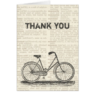 Thank You Vintage Bicycle Brown Dictionary Page Card