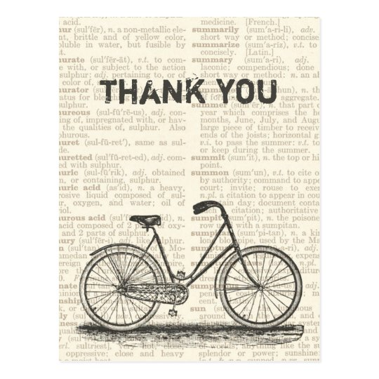 Thank You Vintage Bicycle Brown Dictionary Page Postcard