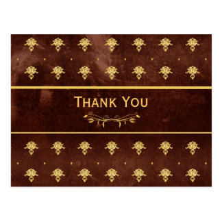 Thank You Vintage Leather Brown and Gold Damask Postcard