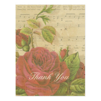 Thank You Vintage Red Roses Floral Music Sheet Postcard