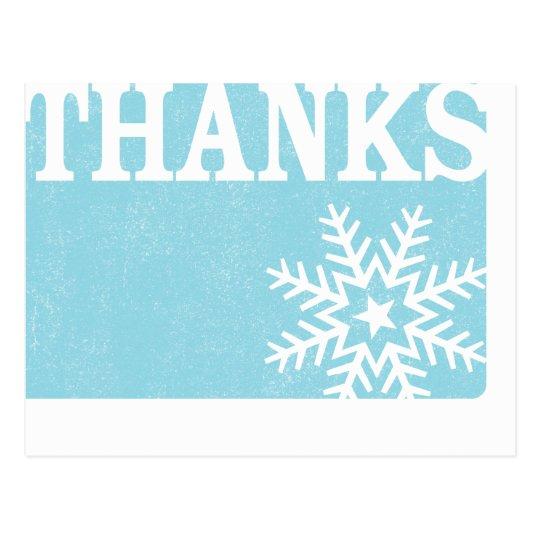 Thank you vintage snowflake christmas postcard