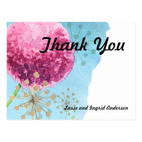 Thank you watercolor Allium floral Postcard
