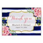 Thank You Watercolor Floral Navy Blue Stripes Card