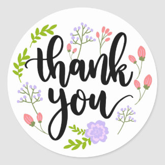 Thank You Watercolor Purple Pink & Green Flowers Classic Round Sticker