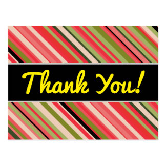 """Thank You!"" + Watermelon-Inspired Stripes Postcard"