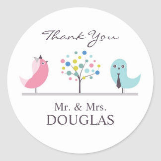 Thank You Wedding Bride and Groom Birds Sticker