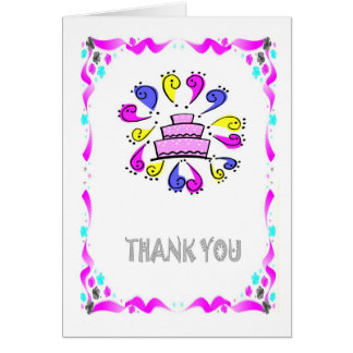 Thank you - Wedding cake with swirls Card