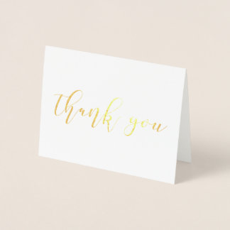 Thank You Wedding Cards REAL GOLD FOIL Script