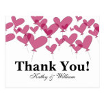 Thank you wedding cards with red heart balloons post card