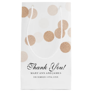 Thank You Wedding Copper Foil Glitter Lights Small Gift Bag