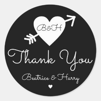 thank you . wedding favor black/white round sticker