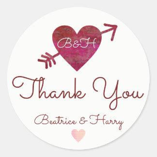thank you . wedding favor red round sticker