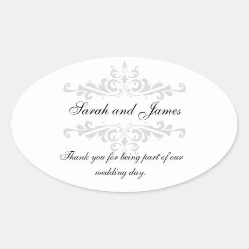 Thank You Wedding Favor Sticker Grey White