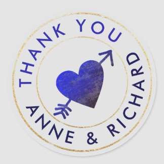 thank you . wedding favors, blue classic round sticker
