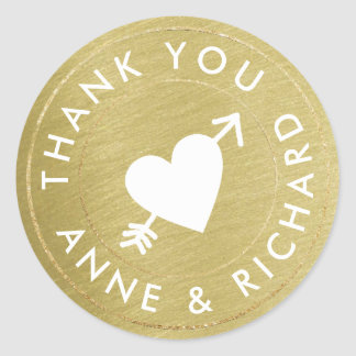 thank you . wedding favors, faux gold classic round sticker