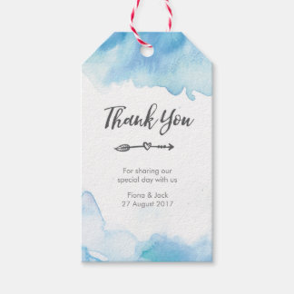 Thank You Wedding Favour tags in Blue watercolor