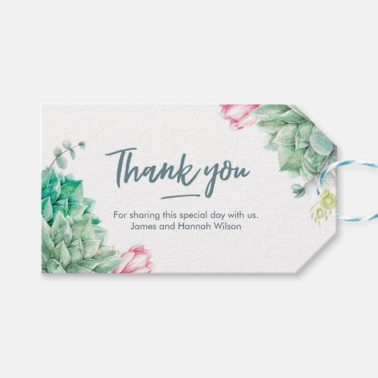 Thank you wedding Favour tags | succulent flowers