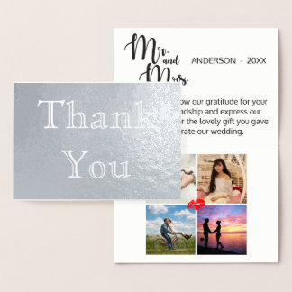 Thank You Wedding Gift 4 Photo Collage Foil Card