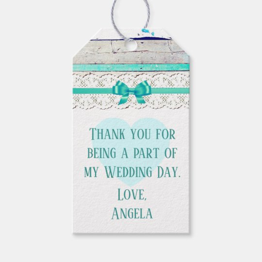Thank You Wedding Gift Tag Turquoise Rustic Wood