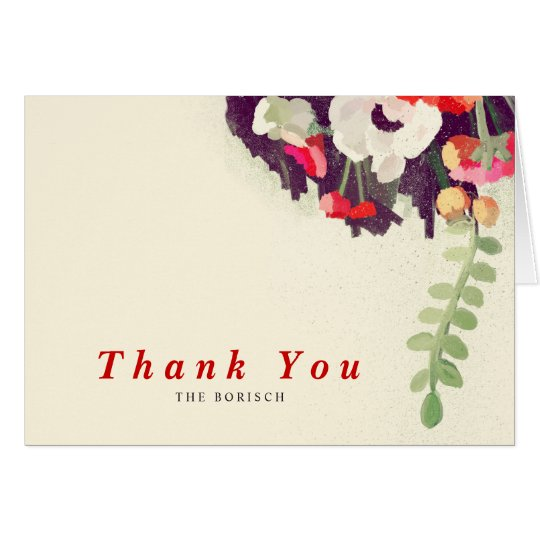 Thank You Wedding Note Card Red White Floral Art